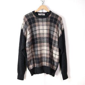 vintage mens XL lambswool plaid sweater retro vtg